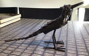 Artist designed vintage welded metal stylised bird sculpture unsigned. 30 x 14cm