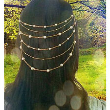 Shadela Gold Layered Pearl Crystal Hair Comb Head Chain Jewelry ECF140