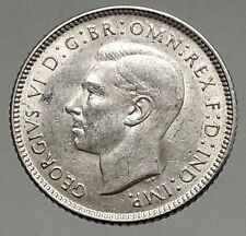 1943 AUSTRALIA - Sixpence SILVER Coin - UK King George VI Coat-of-Arms i56817