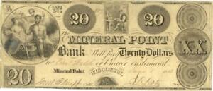 Wisconsin Mineral Point Bank $20 Dollars Obsolete Currency 1838