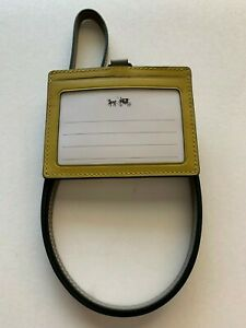NWT Coach F65209 Lanyard Perforated Leather ID Holder Chartreuse