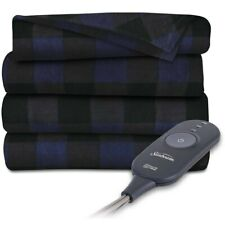 Sunbeam Heated Electric Throw Blanket Fleece Extra Soft Navy Black Plaid