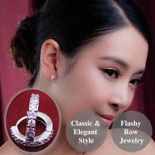 925 Sterling Silver Plated Flashy Ear Cuff Cubic Zirconia Cartilage Hoop Earring