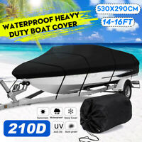 14-16ft Premium Heavy Duty Fishing Boat Cover 210D Waterproof Marine Grade  ,'