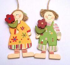 couple poupettes à suspendre en bois, décoration murale, envoi offert  **G-T.A