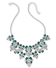 Charter Club Silver-Tone Emerald Crystal Flower Statement Necklace NEW with tag