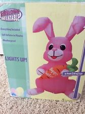Gemmy Airblown Inflatable Giant 6' Happy Easter Bunny with Carrot