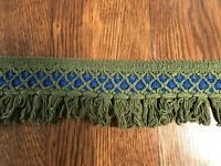 "Vintage RETRO MOD 3.5"" Fringe Avocado Green/Blue Two Lengths 3', 3.5'"
