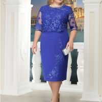 Women Vintage Blue Lace Flower Short Sleeve Party Dresses Autumn Spring Dress
