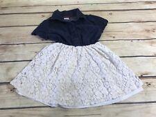 PING KIDS Girls Size 4 Blue Denim White Lace Flutter Sleeves Dress