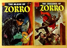 2 FOUR COLOR COMICS 1954 #538 MASK OF ZORRO 1956 #732 CHALLENGE Painted Covers