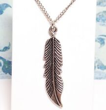 "FEATHER_Pendant on 18"" Chain Necklace_Bird Eagle Wing Angel Native Silver_137N"