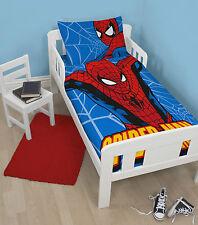 NEW MARVEL SPIDERMAN PARKER JUNIOR / TODDLER COT BED BOYS DUVET QUILT COVER SET