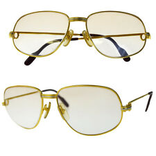 Auth Must de Cartier Trinity Glasses Eye Wear Metal Gold-Tone France 37EC459