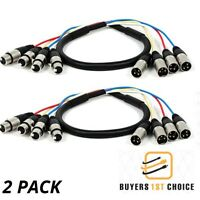 2x 3ft 4 Channel 3 Pin XLR Snake Cable Male to Female Extension Audio Cord M/F