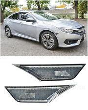 For 16 Up Honda Civic Smoke Front Bumper Reflector Side Marker Lights Lamps