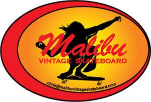 MALIBU VINTAGE SKATEBOARD STICKER, NEW VINYL, SUPER SURFER, HOBIE.