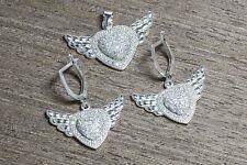925 Sterling Silver & Rhodium Plating Cz Wings on Heart Earrings + Pendant Set