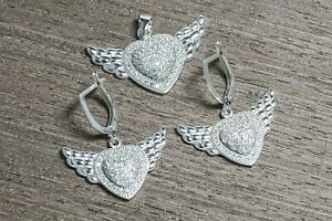925 Sterling Silver & Rhodium Plating Cz Wings on Heart Earrings + Pendant Set