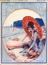 1921 La Vie Parisienne Anticipation Girl Beach France French Travel Poster