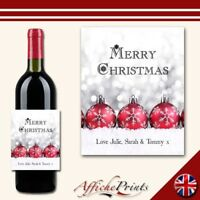 L90 Personalised Merry Christmas Bauble Snow Wine Brut Bottle Label - Gift!