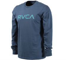 NWT MEN'S BIG RVCA SIZE MEDIUM LONG SLEEVE T-SHIRT BLUE GRAPHIC SURF TEE SKATE