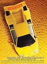 1986 1985 Pirelli Lamborghini Countach Advertisement Print Art Car Ad J714