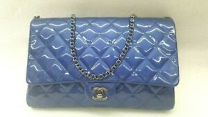CHANEL Blue Quilted Patent Leather Chain Clutch Flap Bag