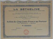 ACTION DE 500 FRANCS, LA BETHELINE, MARSEILLE 1930