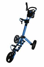 Founders 2016 Qwik Fold 3.5 3 Wheel Golf Push Pull Cart Trolley - Blue