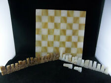 Vintage 1960's Mexican Aztec Mayan Carved Marble Stone 32 Piece Chessboard Set