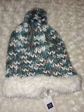 Gap Kids Chunky Knit Stocking Cap Hat Teal Blue Gray Pom Sz S/M Nwt triplet girl