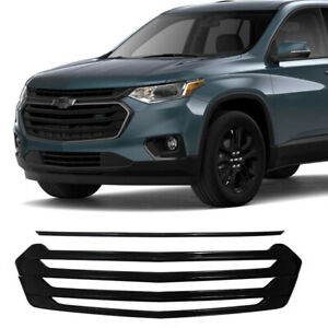 Front Grille Cover For 2018-2021 Chevrolet Traverse Grill Overlay Gloss Black