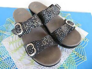Dansko Sophie Black/ Pearl Dot Leather Slide Sandals Sz 40/US 9.5-10 ~ EXCELLENT