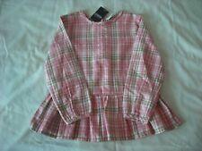 BNWT George girls pink tartan check sparkle long sleeve top 3-4 years