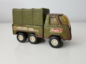 Vtg Buddy L Army Transport Truck w/ Topper Pressed Steel Body Japan Olive Green