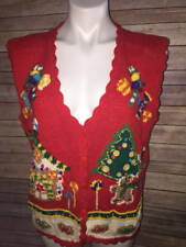 Andrea Lauren Christmas Sweater Vest Sz Large L Womens  Cardigan Gingerbread Men