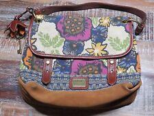 FOSSIL Floral Canvas Leather Long Live Vintage Hand Bag Shoulder Bag Purse