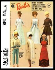 7840 McCall's BARBIE Pattern Fashion Doll Fabric Sewing & Knitting Wardrobe 60's