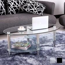 Modern Oval Glass Coffee Table Chrome Legs With 2 Shelf Storage Living Room