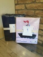 New Pottery Barn Kids Tyler Hampton Boat Twin Duvet And Blue Flannel Sheet Set