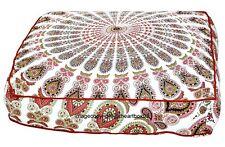 "Feather Mandala Indian Square Floor Cushion Cover Ottoman Pillow Shams Poufe 35"""