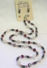 """24"""" HAND KNOTTED MOONSTONE HEMATITE & RUBY RED GLASS BEADED NECKLACE EARRING SET"""