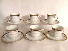 WINTERLING MARKLEUTHEN BAVARIA 6 DEMITASSE CUPS & SAUCERS BLUE FLOWERS GOLD TRIM
