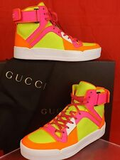 NIB GUCCI NEON YELLOW MULTICOLOR LEATHER INTERLOCKING HI TOP SNEAKERS 39 388015