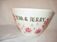 VINTAGE FIRE KING CHRISTMAS TOM & JERRY PUNCH BOWL RED SNOWFLAKES SPLASH PROOF