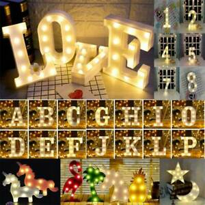 Alphabet LED Lights Letters Light Up Plastic lamp Birthday Wedding Party Decor j