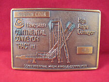 Vintage Coal Miner Brass Belt Buckle Continental Conveyor 'HAC' it