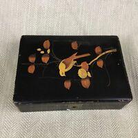 Vintage Giapponese Scatola Nero Dorato Lacca Oggetto in Legno Laccato Legno