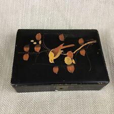 Vintage Japanese Kodansu Black Lacquer Ware Box Wooden Wood Art Deco